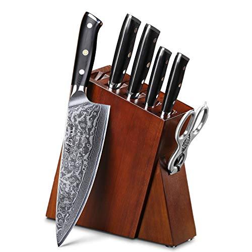 TURWHO Juego de 7 cuchillos de cocina de acero de Damasco con bloque de madera