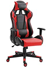 Mahmayi C599_RED Gaming Chair High Back Computer Chair PU Leather Desk Chair PC Racing Executive Ergonomic Adjustable Swivel Task Chair with Headrest and Lumbar Support (RED)