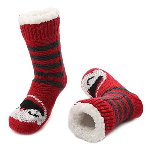 MaaMgic Calzini Invernali Antiscivolo Morbidi per Bambini Imbottiti con Pile di Sherpa Calze a Pantofola Caldi con tante Fantasie, Pinguino rosso grigio, 9-12 anni