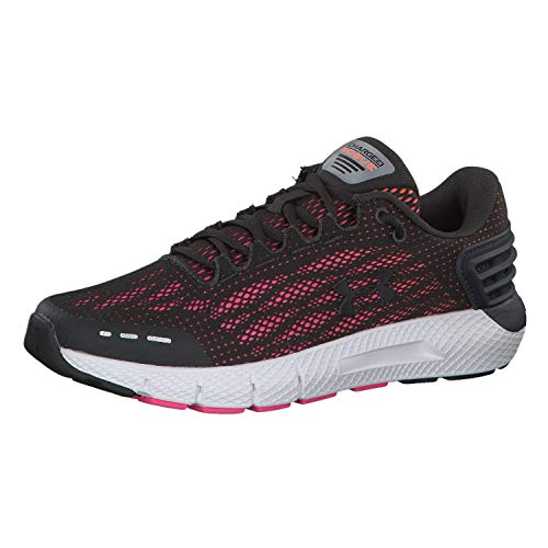 Under Armour Women's Charged Rogue Running Shoe, Jet Gray (105)/Peach Plasma, 9.5