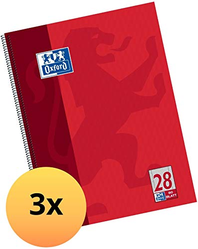 Oxford Collegeblock A4 kariert , rot, 3er Pack