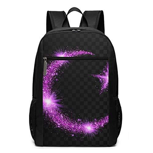 Glitter Bright Trail Black Gray Plaid Casual Backpack Shoulder Back Pack Bag for Womens Mens Teen Boys 17