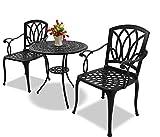 Homeology POSITANO Garden £ Mesa de patio £ 2 sillas grandes con reposabrazos, juego de bistro de aluminio fundido, color negro