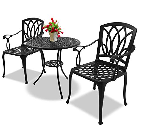 Homeology POSITANO Garden & Patio Table & 2 Large Chairs with Armrests Cast Aluminium Bistro Set - Black