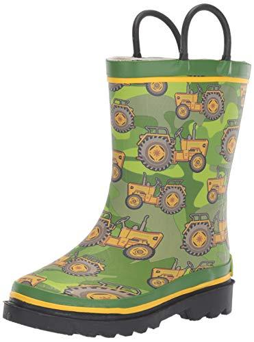 Western Chief Boy's Waterproof Printed Rain Boot, Vintage Tractor, 11-12 Toddler