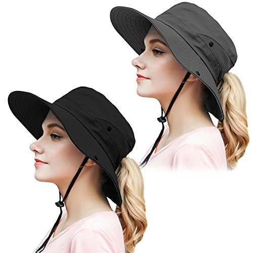 Muryobao Womens Outdoor Sun Hat Ponytail UV Protection Wide Brim Mesh Foldable Safari Beach Fishing Bucket Cap 2 Pack Black & Grey