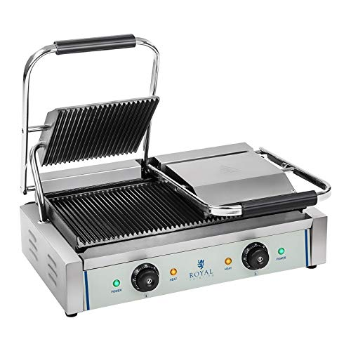 Royal Catering RCKG-3600-G Dubbele contactgrill - geribbeld - 2 x 1.800 W