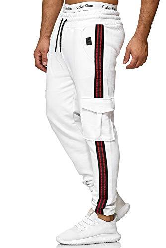 Code47 Herren | Jogginghose | Trainingshose | Sport Fitness | Gym | Training | Slim Fit | Sweatpants Streifen | Jogging-Hose | Stripe Pants | Modell 1224 Weiss L