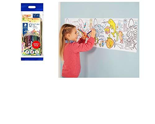 joka international GmbH Malrolle selbstklebend Unterwasserwelt 4 m lang zum anmalen + Staedtler Stifte mit 12 brillianten Farben+Radierer + Bleistift