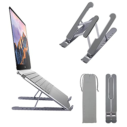 AmazeFan Laptop Stand, Aluminum MacBook Stand for Desk, 7 Levels Adjustable Height Notebook Stand, Ergonomic Computer Holder Compatible with MacBook Air Pro, iPad, Books, 10-15.6 Inch Laptops (Gray)