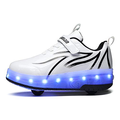 LED Luces Luminosas Zapatillas con Ruedas Zapatos de Roller Ajustable Doble Rueda Patines Calzado Deportivo al Aire Libre Niños Niña Gimnasia Zapatos de Skateboard Running Zapatillas con USB Carga