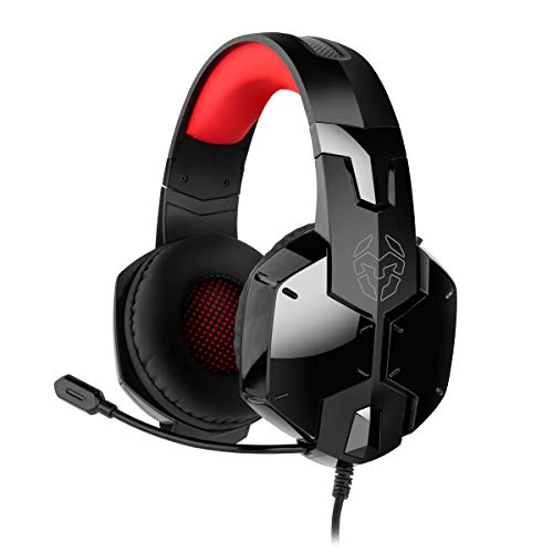 Krom Cascos Gaming KAYN -NXKROMKAYN - Auriculares con microfono, Sonido Stereo, Altavoces 50mm, Diadema Ajustable, Micro Flexible, USB, Compatible Nintendo Switch, PS4, PC, Color Negro,Rojo