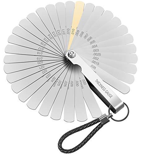Xinmeng Galgas 32 Galgas de Medición Para Medir Espesores Galgas De Espesores Herramienta para medir la Brecha Dobles Métrica Marcada y Herramienta Para Medir Ancho de Ancho/Espesor/Tamaños