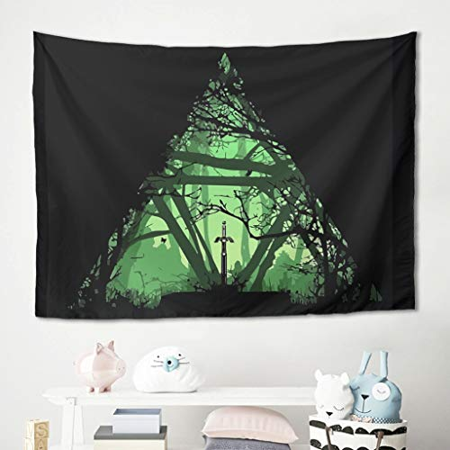 Toomjie Zelda Tapestry Vintage Wall Art Game Role Beach Throws for Bedroom Dorm Decor White 40x59 inch