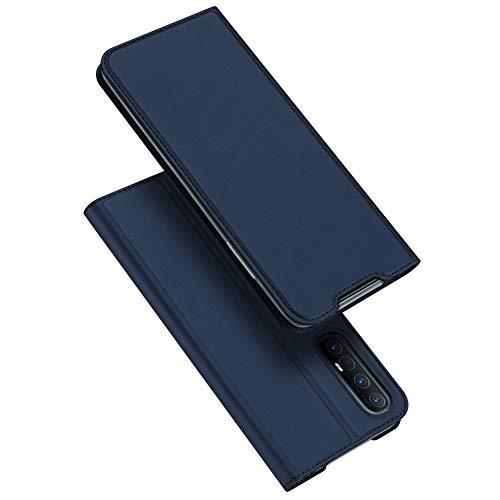 BaiFu Hülle für Oppo Find X2 Neo Lederhülle Flip Hülle mit Magnetischem Superdünnem seidigem Brieftasche Schutzhülle Kompatibel mit Oppo Find X2 Neo-Blau