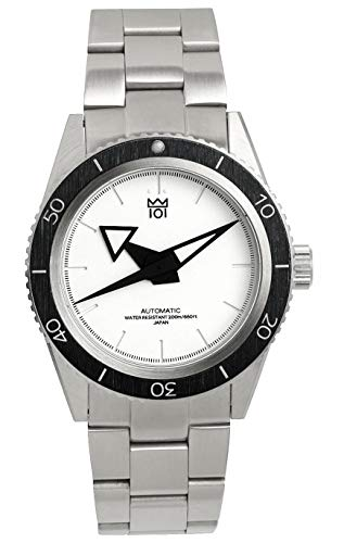 [HYAKUICHI 101] ダイバーズウォッチ 日本製 自動巻き オートマチック 200m防水 逆回転防止ベゼル 腕時計 40mm ホワイト メンズ
