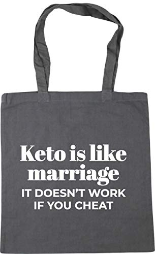 Hippowarehouse Keto is like marriage, it doesn't work if you cheat Tote Shopping Gym Beach Bag 42cm x38cm, 10 litres