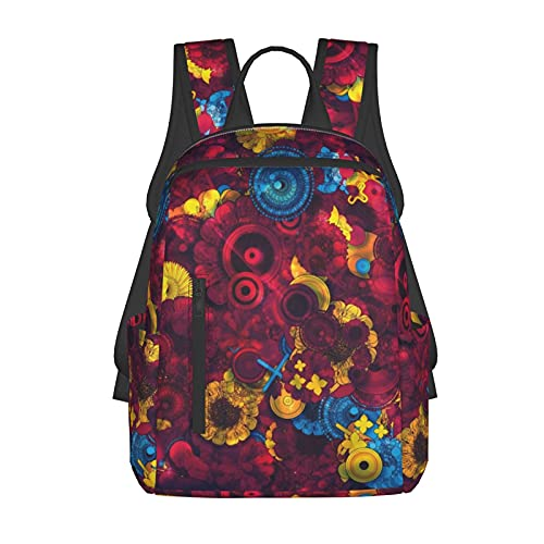 School Daypack Backpack, Big Capacity Rucksacks for Climbing Picnic Bicycle, Trippy Flowers Travel Hiking & Camping Rucksack for Man/Women/College Teen Girls