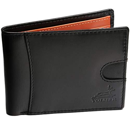 Fa.Volmer ® Cartera fina y cómoda de piel auténtica con protección RFID para hombre, tipo #VO20B (negro)