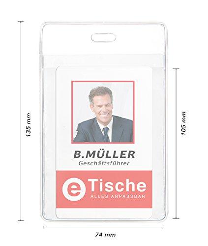 Karteo® Ausweishülle Din A7 (74 x 105 mm) | Front- und Rücktasche | aus Vinyl Plastik | vertikal | transparent | Kartenhülle Kartenhüllen Ausweishalter Kartenhalter für Ausweise Dienstausweise