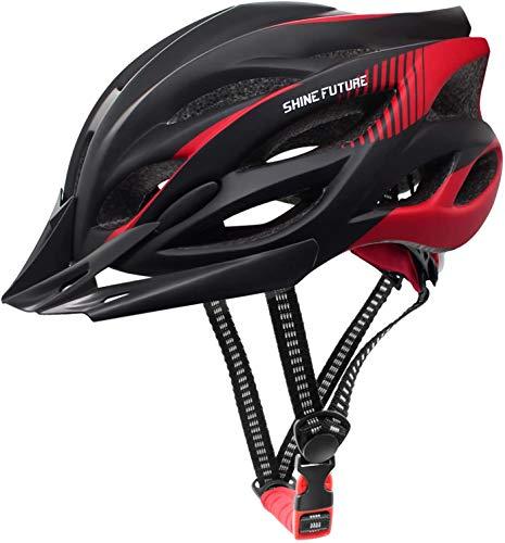 shine future Fahrradhelm für Erwachsene, verstellbare leichte Fahrradhelme für Männer und Frauen, Rennrad- und Mountainbike-Helm mit abnehmbarem Visier und LED-Rücklicht