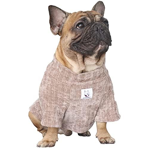 iChoue Pet Dog Winter Warm Sweater Clothes Turtleneck for French Bulldog Frenchie Shiba Inu Corduroy Cold Weather Pullover Coat Shirt - Khaki/Size M