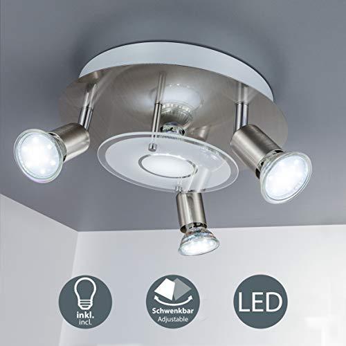 LED Deckenstrahler 4 flammig, Deckenleuchte, Deckenlampe inkl. 4 x 3W 250lm Leuchtmittel GU10, schwenkbar, IP20, warmweiss