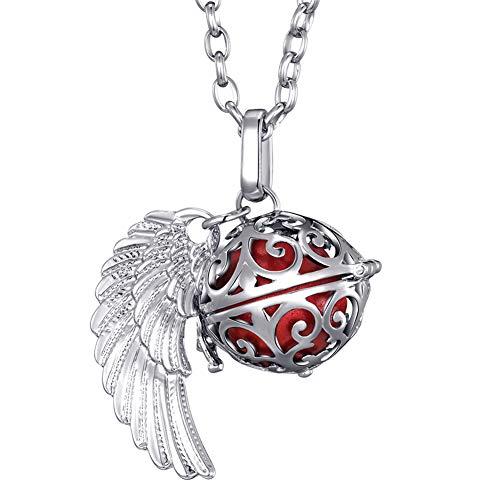 Morella Damen Schutzengel Halskette Edelstahl 70 cm mit Anhänger Engelsflügel und Klangkugel rot Ø 16 mm in Schmuckbeutel