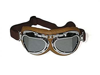 CRG Sports Vintage Aviator Pilot Style Motorcycle Cruiser Scooter Goggle T08 T08SSN Silver lens silver frame brown padding