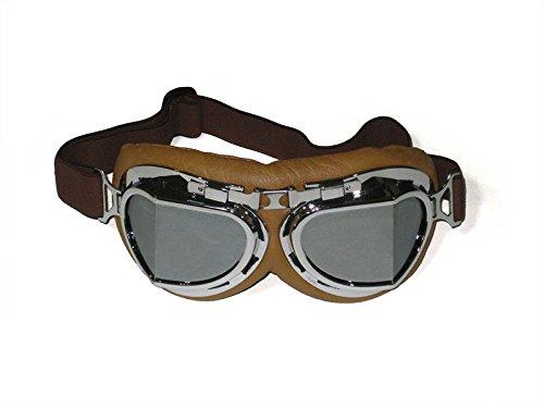 CRG Sports Lunettes de moto style pilote aviateur vintage T08 T08SSN avec verres argentés, monture argentée, rembourrage marron
