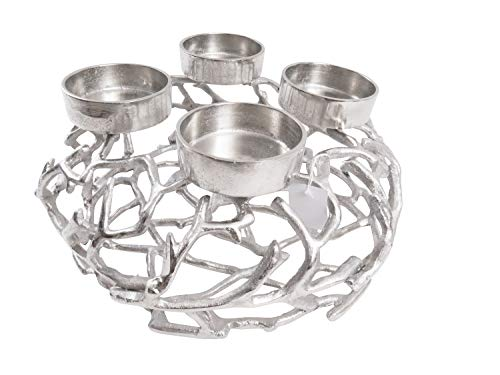 CB Home % Style Adventskranz Kerzenhalter Aluminium Silber Metall Durchmesser 35 cm Weihnachten