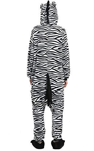 KRAZY TOYS Pijama Animal Entero Unisex para Adultos como Ropa de Dormir-Traje de Disfraz para Festival de Carnaval (Zebra, M/L)