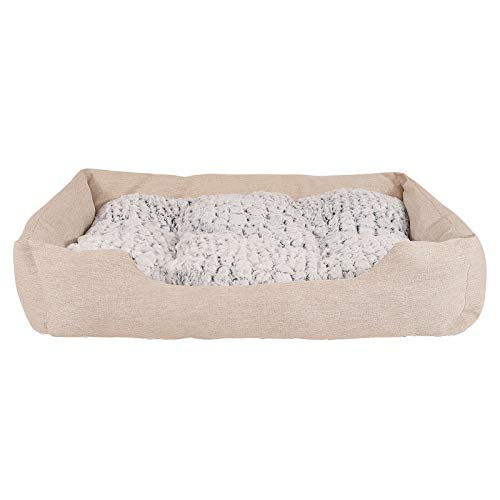 dibea Hundebett Hundekissen Hundekörbchen mit Wendekissen meliert (L) 110x80 cm Beige