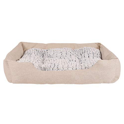 dibea Cama para perros con cojín reversible tela mezcla cómodo sofá (L) 110x80 cm Beige
