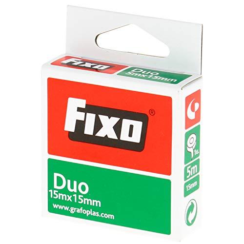 Fixo Duo 75600200. Cinta Adhesiva Doble Cara, 15mmx15m, Libre de Ácido y Lignina, Perfecta para Manualidades con Goma EVA y Scrapbooking, transparente