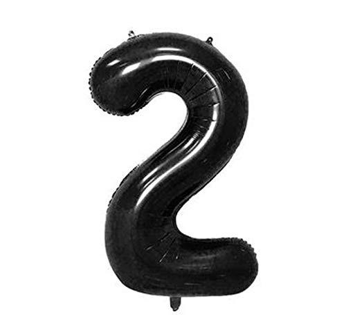 Siumir Globo de Número Negro Globo Número Grande Número 2 Papel De Aluminio Globo Decoración de Fiestas de Cumpleaños
