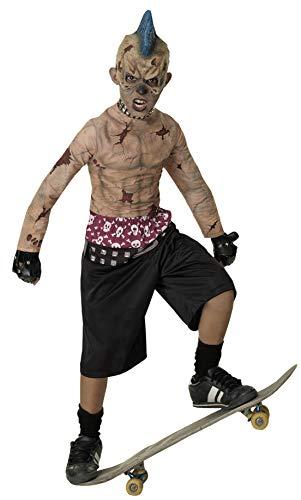 Costume de punk Zombie patin. Grands 8-10 ans. 3/4 masque, tour de cou clouté, chemise, short et gants cloutés.