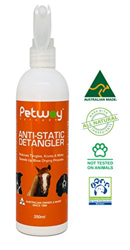 Petway Petcare Anti-Static Detangler - Dematting Spray for Dogs, Pet Detangling Spray, Free of Phosphates, Parabens & Enzymes – Tangle Remover, Daily Grooming Aid (250 ml)