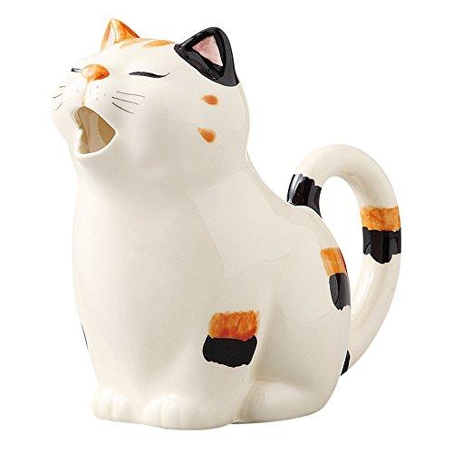 万葉庵 猫クリーマ ミケ 117-3-73 :11×11×高さ7cm ホワイト