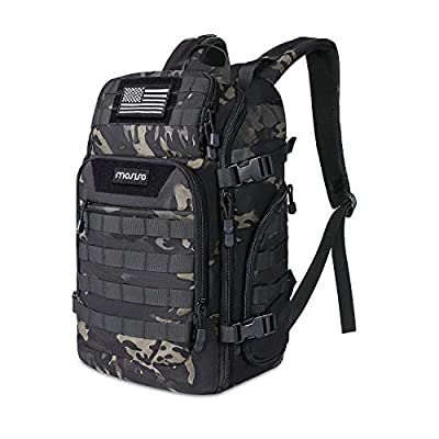 MOSISO 30L Tactical Backpack, Military Daypack 3 Day Assault Molle Rucksack Outdoor Hiking Hunting Fishing Camping Training Shoulder Bag with USA Flag Patch&USB Charging Port, Night Camouflage