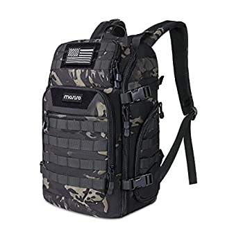 MOSISO 30L Tactical Backpack Military Daypack 3 Day Assault Molle Rucksack Outdoor Hiking Hunting Fishing Camping Training Shoulder Bag with USA Flag Patch&USB Charging Port Night Camouflage