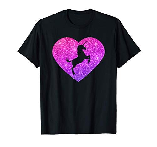 Unicornio en un Corazón para Niñas Adolescentes y Mujeres Camiseta