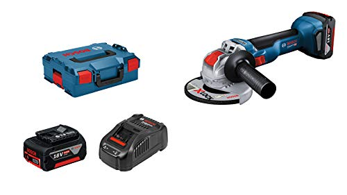 Bosch Professional 18V System GWX 18V-10 - Amoladora angular a batería (X-LOCK, Ø disco 125 mm, 9000 rpm, 2 baterías x 5.0Ah, en L-BOXX)