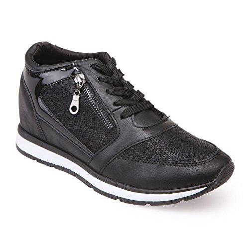 La Modeuse - Zapatillas bajas y compensadas, Negro (Negro ), 40 EU