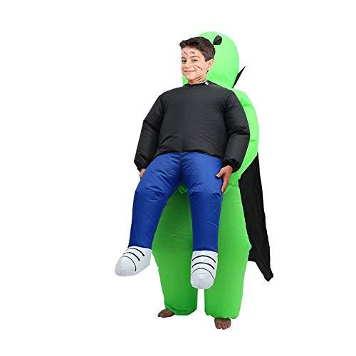 WOSNN Disfraz hinchable de Alien, disfraz de Halloween, color verde, disfraz de Carry Me para hombre, disfraz cosplay, disfraz de Halloween, fiesta, joya de mesa, casa y jardn (nios)