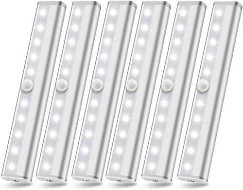 Luces de armario con sensor de movimiento, 10 luces LED debajo del gabinete, luz inalámbrica debajo del mostrador, luces adhesivas, barra de luz nocturna de movimiento para escaleras, pasillo, cocina