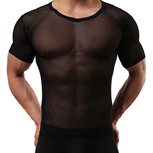 Panegy Herren Sexy Transparent T Shirt Glatt Gaze Slim Fit Tops Unterwäsche Reizwäsche Größe XL - Schwarz