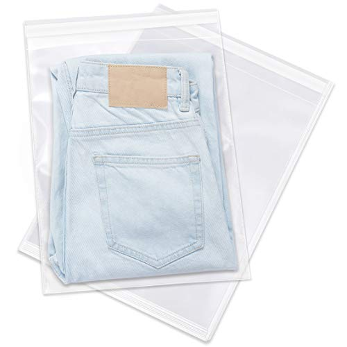 """Spartan Industrial - 12"""" X 15"""" (1000 Count) Crystal Clear Resealable Polypropylene Poly Bags for Packaging, Clothing & T Shirts - Self Seal & Reinforced"""