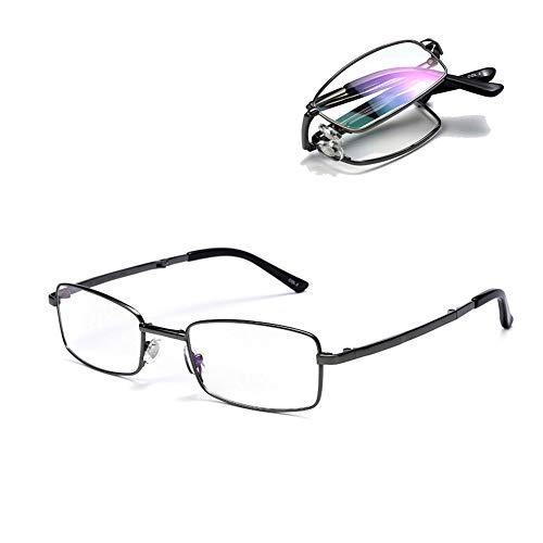 Mannen Zuiver Titanium Anti Bluelight Leesbril, Progressive Multifocus Glazen Lezers, Portable Folding HD Mannelijke Leesbril