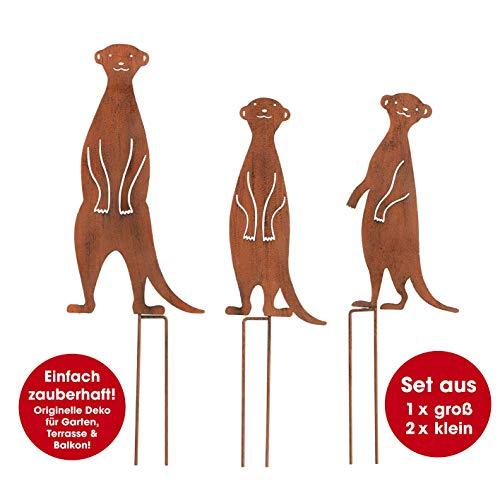 Unbekannt EASYmaxx 02734 Gartenstecker Erdmännchen in Rost-Optik | Für drinnen & draußen | 3er-Set (1 x groß, 2 x klein)